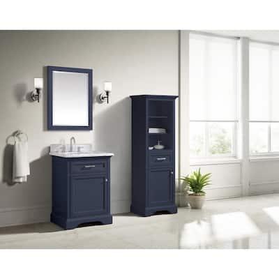 Windlowe 24 in. W x 22 in. D x 35 in. H Bath Vanity in Navy Blue with Carrara Marble Vanity Top in White with White Sink