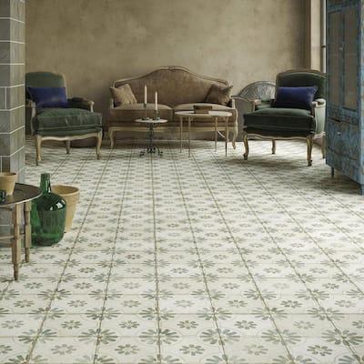 Kings Blume Encaustic 17-5/8 in. x 17-5/8 in. Sage Ceramic Floor and Wall Tile (11.02 sq. ft. /Case)