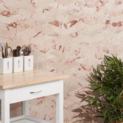 Krista Watterworth Westgate Floral Pink 11.29 in. x 8.97 in. Polished Marble Mosaic Tile (0.7 sq. ft./Each)
