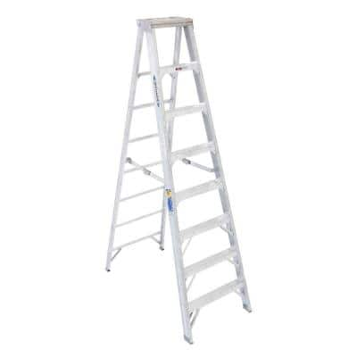 8 ft. Aluminum Step Ladder with 375 lb. Load Capacity Type IAA Duty Rating