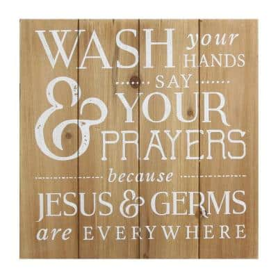 """Josephine """"Wash Your Hands, Say Your Prayers"""" Wooden Bath Wall décor"""