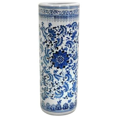23.5 in. Porcelain Decorative Vase in Blue