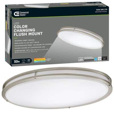 32 in. Orbit Oval Color Selectable CCT LED Flush Mount Brushed Nickel Ceiling Light 3000 Lumens Dimmable