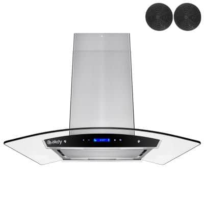 36 in. Convertible Kitchen Island Mount Range Hood in Stainless Steel with Tempered Glass, Touch Control & Carbon Filter