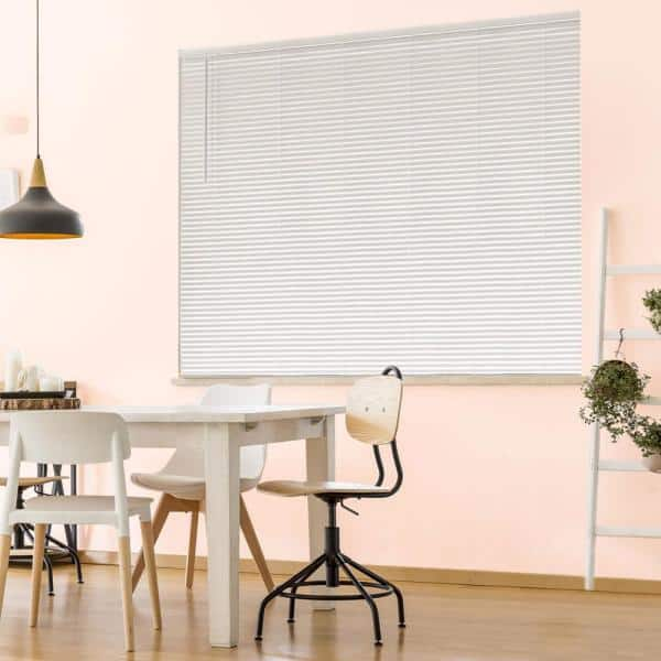 Hampton Bay White Cordless Room Darkening 1 In Vinyl Mini Blind For Window Or Door 72 In W X 48 In L 10793478354047 The Home Depot