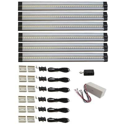 SNAP Hardwired Dimmable 12 in. LED Aluminum 3000K Soft White Linkable Under Cabinet Light Kit (6-Pack)
