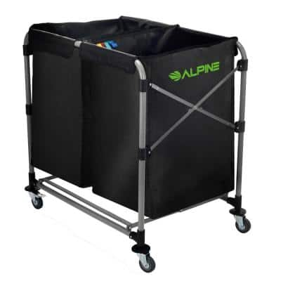 8-Bushel Black Multi-Stream Collapsible Vinyl Laundry Cleaning Cart with Wheels