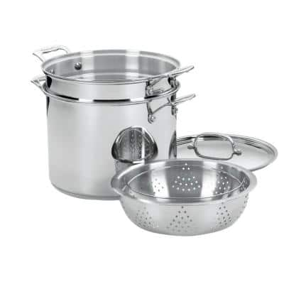 Chef's Classic 12 qt. Stainless Steel Pasta Pot with Lid and Steamer Insert
