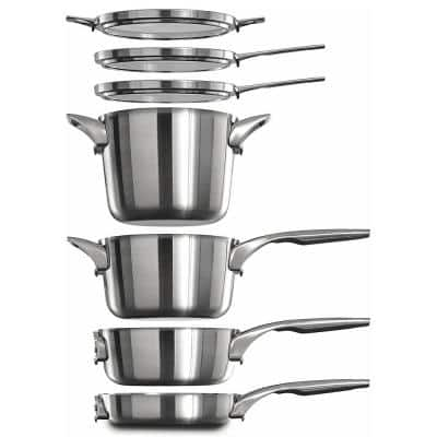 Premier Space Saving 15-Piece Stainless Steel Pot and Pan Cookware Set