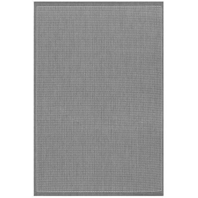 Recife Saddle Stitch Grey-White 8 ft. x 11 ft. Indoor/Outdoor Area Rug