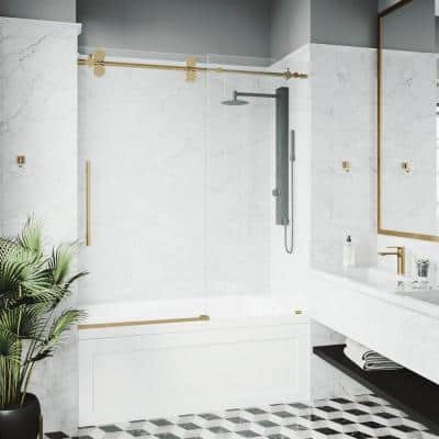 Elan 56 to 60 in. W x 66 in. H Sliding Frameless Tub Door in Matte Gold with Clear Glass
