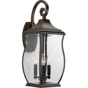 Township Collection 3-Light Oil Rubbed Bronze Clear Beveled Glass New Traditional Outdoor Large Wall Lantern Light