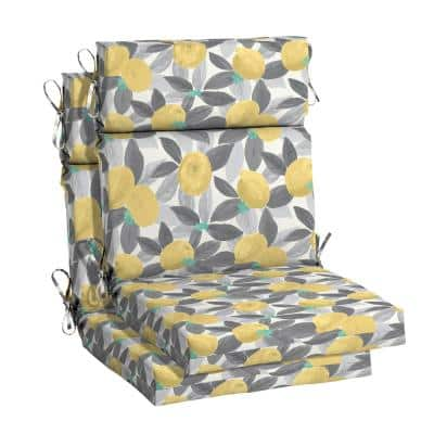 21.5 in. x 24 in. Stone Gray Lemons Outdoor High Back Dining Chair Cushion (2-Pack)