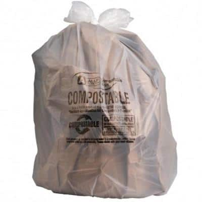 55 Gal. to 60 Gal. Clear Compostable Trash Bags (Case of 35 Bags)