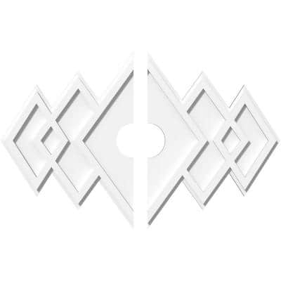 30 in. W x 20 in. H x 4 in. ID x 1 in. P Zoe Architectural Grade PVC Contemporary Ceiling Medallion (2-Piece)