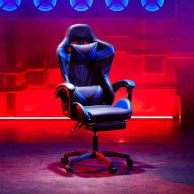 27 in. Width Blue Lether Ergonomic Gaming Chair with Adjustable Height and USB-Powered Lumbar Massage