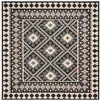 Veranda Ivory/Gray 3 ft. x 3 ft. Aztec Geometric Indoor/Outdoor Square Area Rug