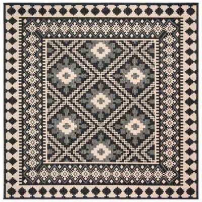 Veranda Ivory/Gray 8 ft. x 8 ft. Aztec Geometric Indoor/Outdoor Square Area Rug