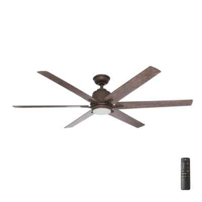 Kensgrove 64 in. Integrated LED Espresso Bronze Ceiling Fan with Light and Remote Control