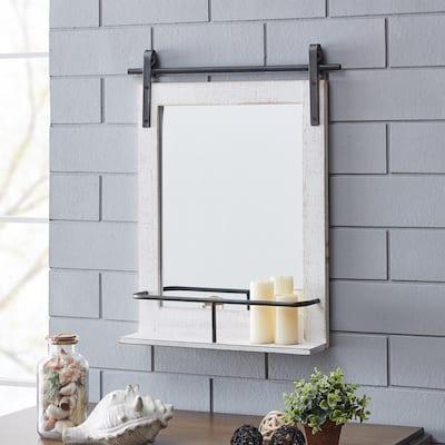 Medium Rectangle Rustic White Classic Mirror (25 in. H x 20 in. W)
