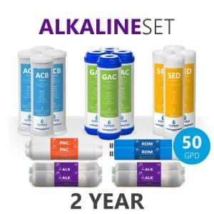 2 Years Alkaline Reverse Osmosis System Filter Set - 20 Filters with 50 GPD RO Membrane - 10 inch Size
