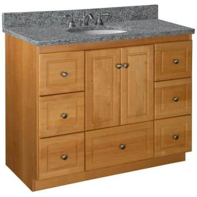 Ultraline 42 in. W x 21 in. D x 34.5 in. H Simplicity Vanity Center Basin with Side Drawers in Natural Alder