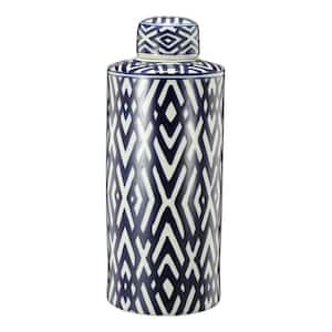Carlyle Blue, White Large Lidded Jar