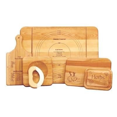 5-Piece Hardwood Reversible Cutting Board Set