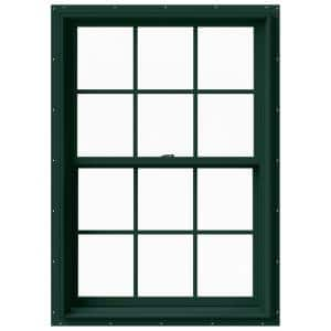 33.375 in. x 48 in. W-2500 Series Green Painted Clad Wood Double Hung Window w/ Natural Interior and Screen