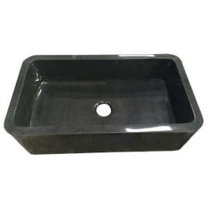 Acantha Farmhouse Apron Front Granite Composite 36 in. Single Bowl Kitchen Sink in Polished Black