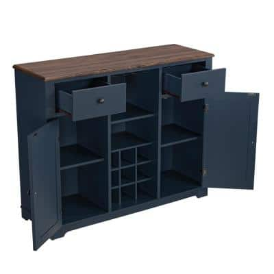 Navy Wood Bar Cabinet with Brushed Nickel Knobs