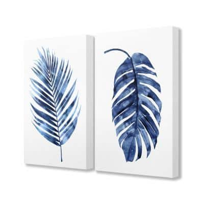 """16 in. x 20 in. """"Indigo Dark Blue Palm Frond Plant Painting Duo"""" by Artist Melonie Miller Canvas Wall Art(2Pieces)"""