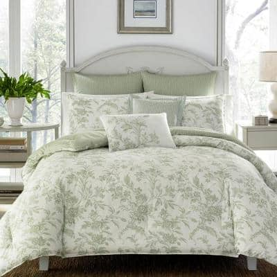 Natalie 7-Piece Green Floral Cotton Full/Queen Comforter Set