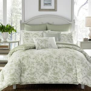 Natalie 7-Piece Green Floral Cotton King Comforter Set