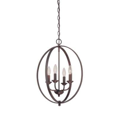 4-Light Rubbed Bronze Candle Pendant