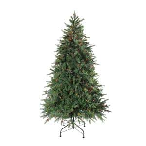 90 in. Pre-Lit Hunter Fir Full Artificial Christmas Tree with Multi-Color Lights