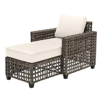 Briar Ridge Brown Wicker Outdoor Patio Chaise Lounge with CushionGuard Almond Tan Cushions