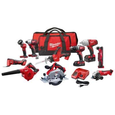 M18 18-Volt Lithium-Ion Cordless Combo Kit (10-Tool) with (2) Batteries, Charger and (2) Tool Bags