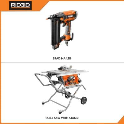 10 in. Pro Jobsite Table Saw with Stand and 18-Gauge 2-1/8 in. Brad Nailer
