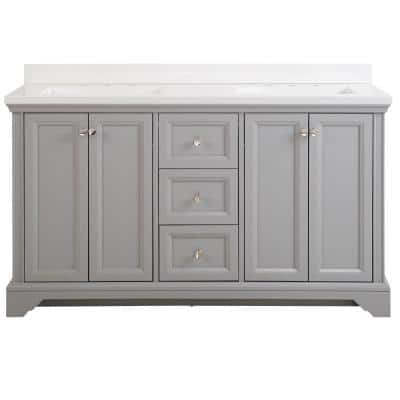 Stratfield 61 in. W x 22 in. D Bath Vanity in Sterling Gray with Cultured Marble Vanity Top in White with White Sinks