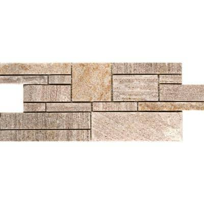 Cream Gold Borgo 6-3/4 in. x 17-1/2 in. Quartzite Slate Mesh-Mounted Floor and Wall Tile