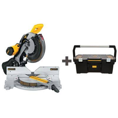 15 Amp 12 in. Double Bevel Compound Miter Saw with 24 in. Tote with Organizer