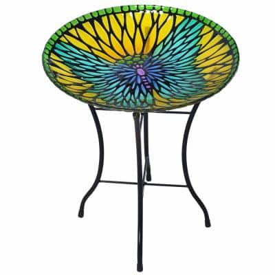 Outdoor 18-Inch Mosaic Butterfly Fusion Glass Bird Bath w/ Stand