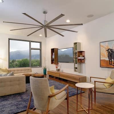 96 in. Indoor Metallic Satin Nickel Industrial Ceiling Fan with Remote Control