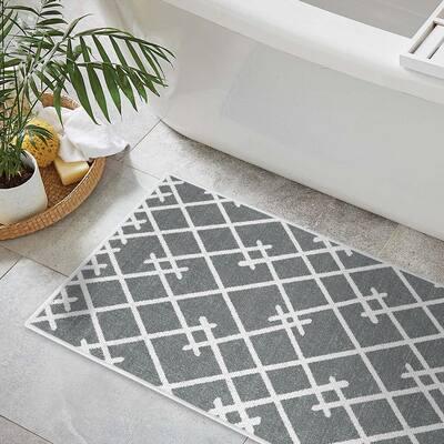 Gray Color Geometric Trellis Design Cotton Non-Slip Washable Thin 3 Piece Bathroom Rugs Sets