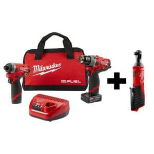 M12 FUEL 12-Volt Li-Ion Brushless Cordless Hammer Drill and Impact Driver Combo Kit (2-Tool)w/ M12 3/8 in. Ratchet