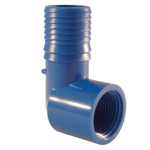 1 in. x 3/4 in. Polypropylene Blue Twister Insert 90-Degree x FPT Elbow