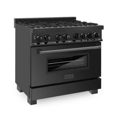 ZLINE 36 in. 4.6 cu. ft. Dual Fuel Range with Gas Stove and Electric Oven in Black Stainless Steel