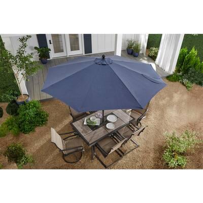 10 ft. Aluminum Auto-Tilt Market Outdoor Patio Umbrella in Sky Blue