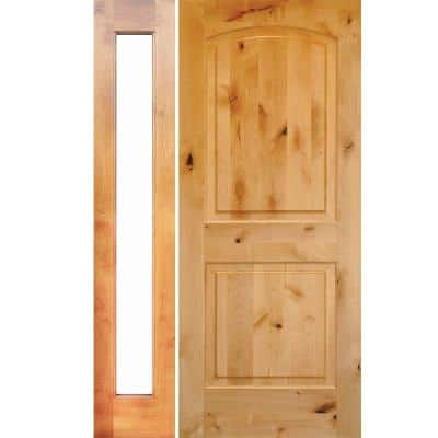 44 in. x 80 in. Rustic Unfinished Knotty Alder Arch-Top Right-Hand Left Full Sidelite Clear Glass Prehung Front Door